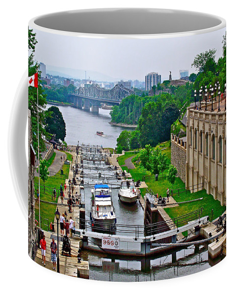 Locks On Rideau Canal East Of Parliament Building In Ottawa Coffee Mug featuring the photograph Locks On Rideau Canal East Of Parliament Building In Ottawa-on by Ruth Hager