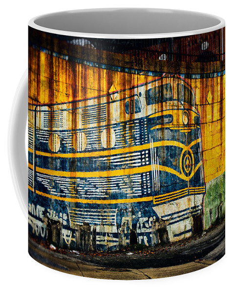 Locomotive Coffee Mug featuring the photograph Locomotive On A Wall by Bill Swartwout Fine Art Photography