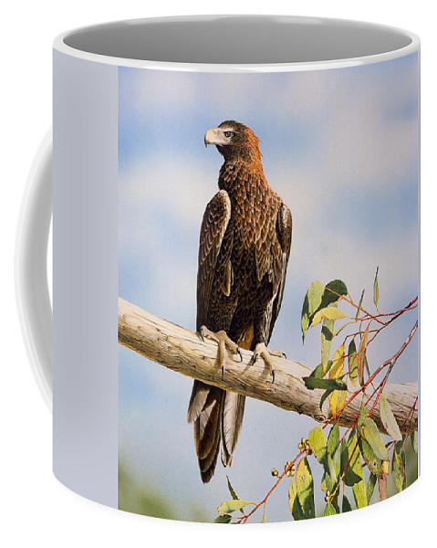 Gum Trees Coffee Mug featuring the painting Lofty Visions - Wedge-Tailed Eagle by Frances McMahon