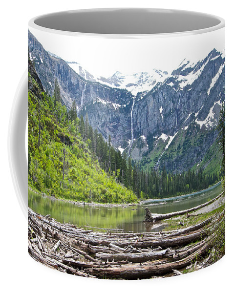 Log Jam In Avalanche Lake Coffee Mug featuring the photograph Log Jam In Avalanche Lake In Glacier Np-mt  by Ruth Hager