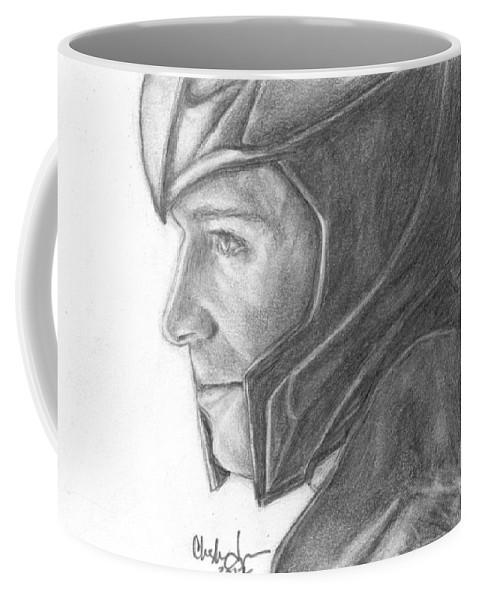 Loki Coffee Mug featuring the drawing Loki Smirking by Christine Jepsen