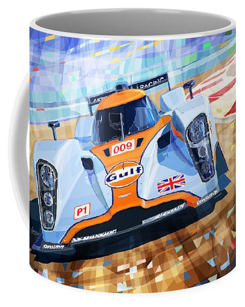 Automotive Coffee Mug featuring the mixed media Lola Aston Martin Lmp1 Racing Le Mans Series 2009 by Yuriy Shevchuk
