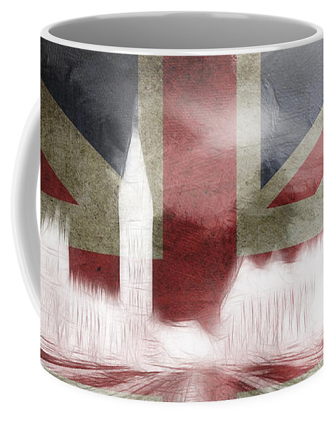 London Great Britain Big Ben Houses Of Parliament London Bridge Abstract British Flag Surreal Digital Art Expressionism Skyline City Cityscape Coffee Mug featuring the painting London Big Ben Abstract by Steve K
