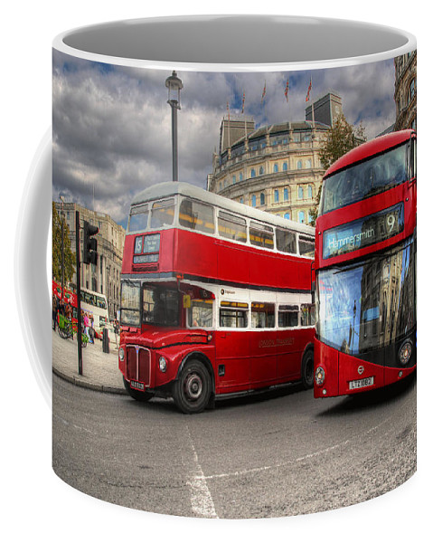 Bus Coffee Mug featuring the photograph London Double Decker Buses by Lee Nichols