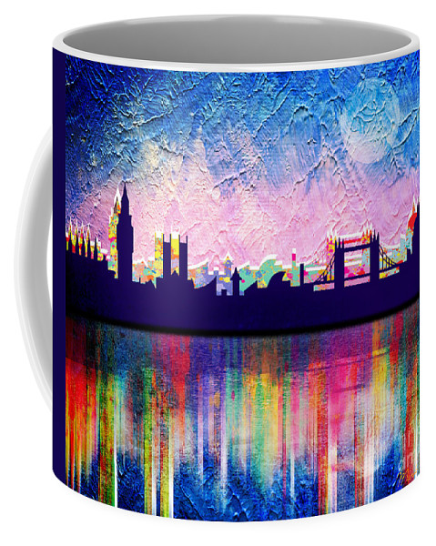 Cityscape Coffee Mug featuring the painting London In Blue by Mark Ashkenazi