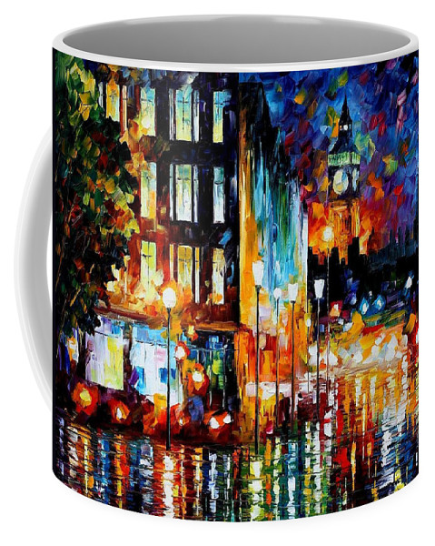Art Gallery Coffee Mug featuring the painting Londons Lights - Palette Knife Oil Painting On Canvas By Leonid Afremov by Leonid Afremov