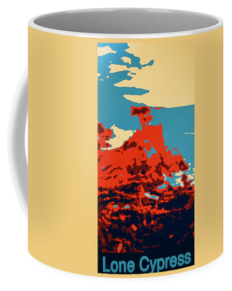 Lone Cypress Poster Coffee Mug featuring the digital art Lone Cypress Poster by Barbara Snyder