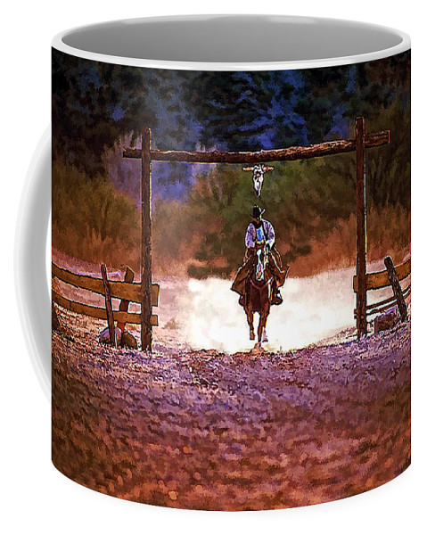 Cowboy Coffee Mug featuring the photograph Lone Rider by Tommy Anderson