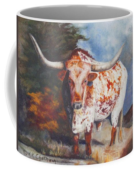 Longhorn Art Coffee Mug featuring the painting Lone Star Longhorn by Karen Kennedy Chatham