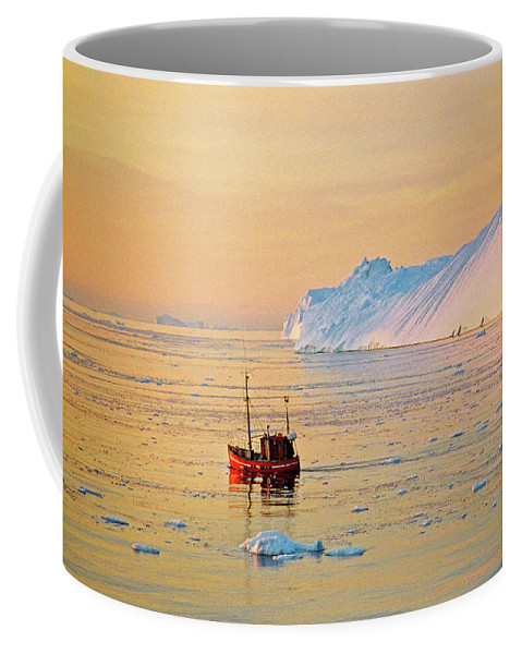 Greenland Coffee Mug featuring the photograph Lonely Boat - Greenland by Juergen Weiss