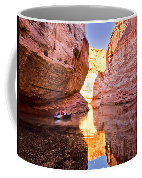 Lake Powell Utah Coffee Mug featuring the photograph Lonely Fisherman by Jon Berghoff