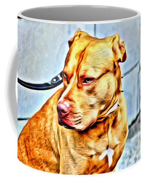 Pit Bull Dog Coffee Mug featuring the photograph Lonely Pit Bull by Alice Gipson