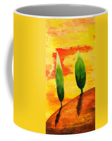 Abstract Coffee Mug featuring the painting Lonely Planet by Nirdesha Munasinghe