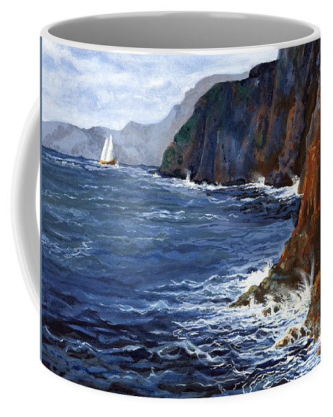 Landscape Coffee Mug featuring the painting Lonely Schooner by Mary Palmer
