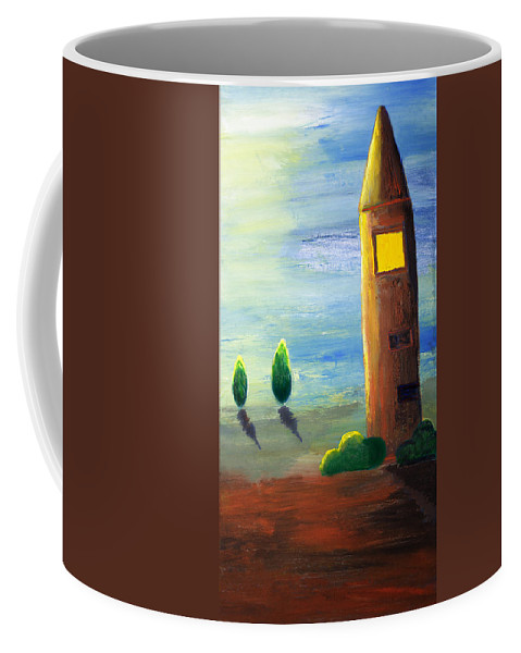 Drawing Coffee Mug featuring the painting Lonely Tower by Nirdesha Munasinghe