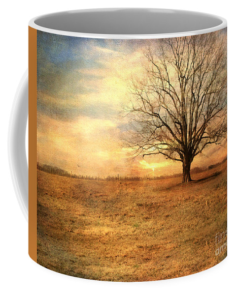 Landscape Coffee Mug featuring the photograph Lonely Tree At Sunset by Jai Johnson