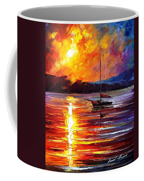 Art Gallery Coffee Mug featuring the painting Lonely Yacht - Palette Knife Oil Painting On Canvas By Leonid Afremov by Leonid Afremov