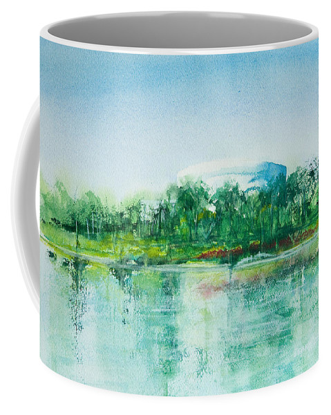 Watercolor Coffee Mug featuring the painting Long Beach Convention Center Arena by Debbie Lewis