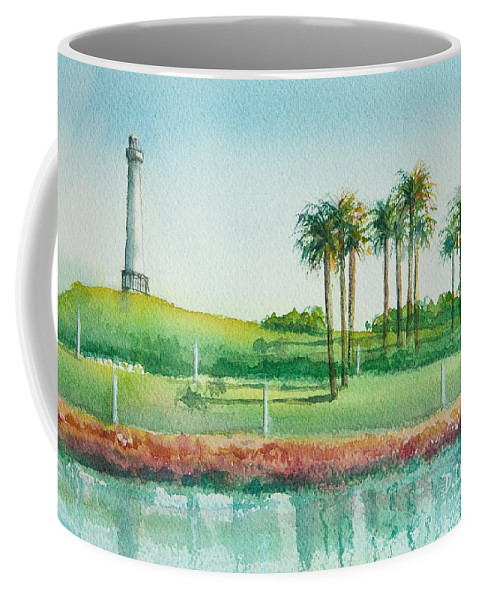 Watercolor Coffee Mug featuring the painting Long Beach Lighthouse by Debbie Lewis