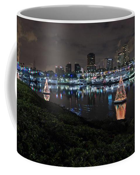 America Coffee Mug featuring the photograph Long Beach Lights by Heidi Smith