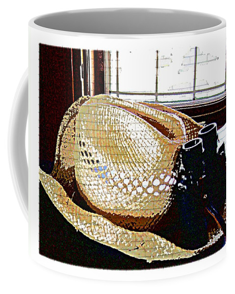 Hat Binoculars Stetson Coffee Mug featuring the photograph Long Day by Alice Gipson