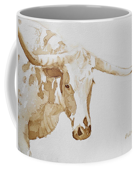 Coffee Coffee Mug featuring the painting Longhorn by Judy Fischer Walton