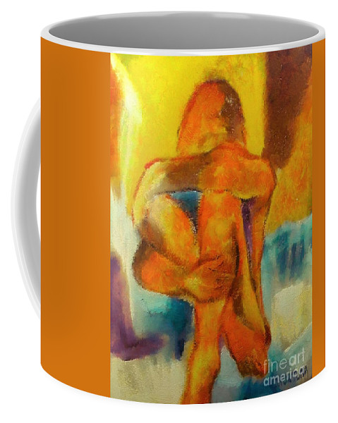Nude Coffee Mug featuring the mixed media Longing by Dragica Micki Fortuna