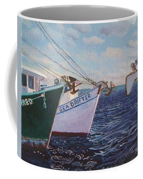 Boats Coffee Mug featuring the painting Longliners Achor To Anchor by Alan Mintz