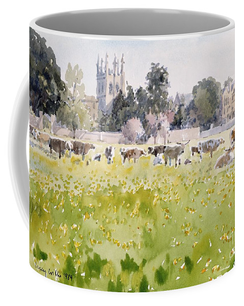 College Coffee Mug featuring the painting Looking Across Christ Church Meadows by Lucy Willis