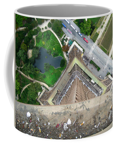 Eiffel Tower Coffee Mug featuring the photograph Looking Down From The Eiffel Tower by Rosie McCobb