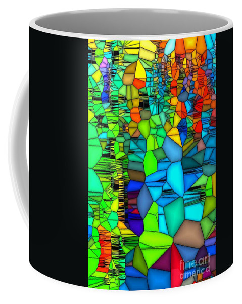 Abstract Coffee Mug featuring the painting Looking Glass 1 by Saundra Myles