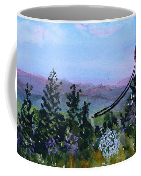 Mountain Coffee Mug featuring the painting Looking Out From Top Of Jay Peak by Donna Walsh