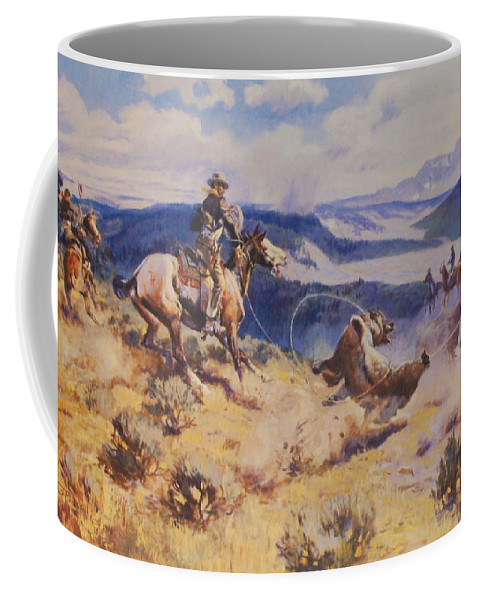 Charles Russell Coffee Mug featuring the digital art Loops And Swift Horses Are Surer Then Lead by Charles Russell