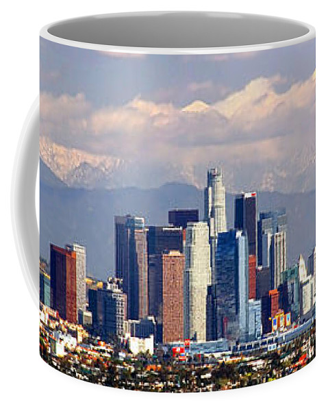 Los Angeles Skyline Coffee Mug featuring the photograph Los Angeles Skyline With Mountains In Background by Jon Holiday