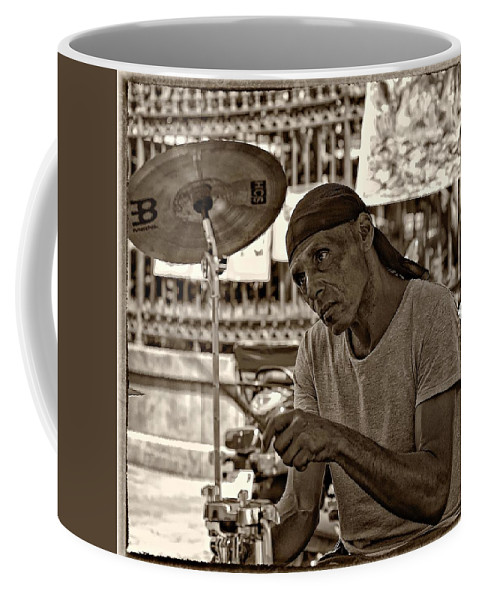 French Quarter Coffee Mug featuring the photograph Lost In The Beat Sepia by Steve Harrington