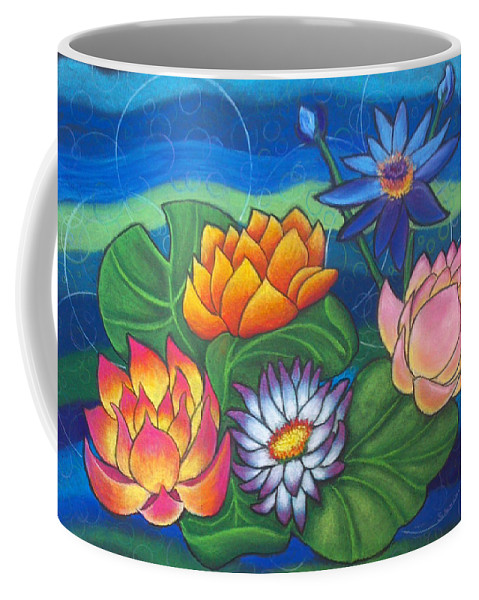Lotus Waterlilies Lilypads Color Water Pond Nature Flowers Coffee Mug featuring the pastel Lotii by Brenda Salamone