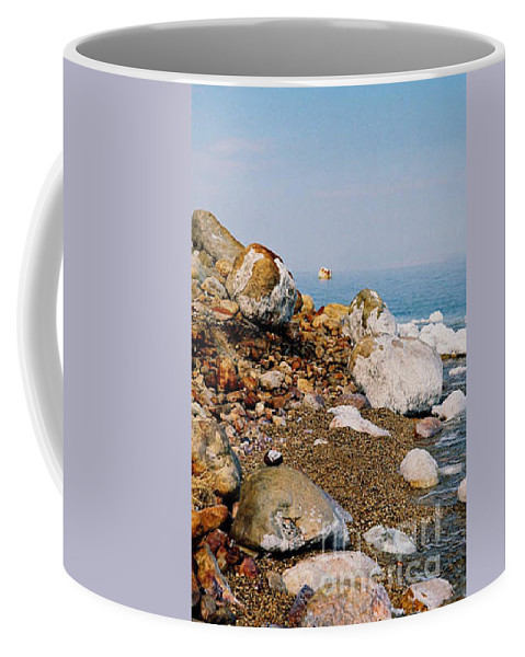 Dead Sea Coffee Mug featuring the photograph Lot's Wife by Kathy McClure