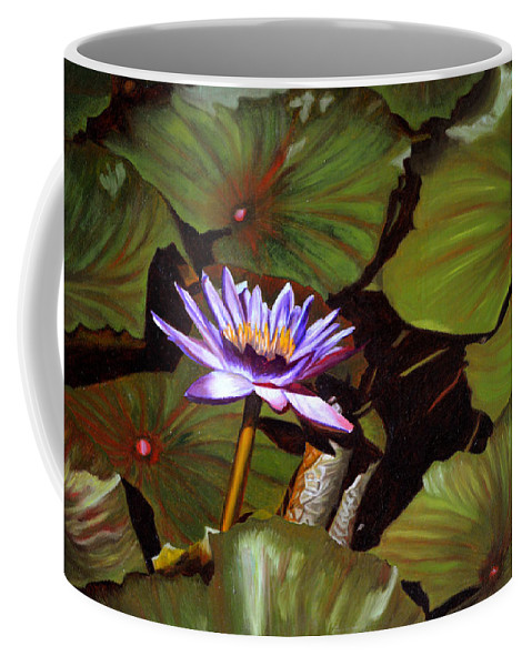Lotus Coffee Mug featuring the painting Lotus One by Thu Nguyen