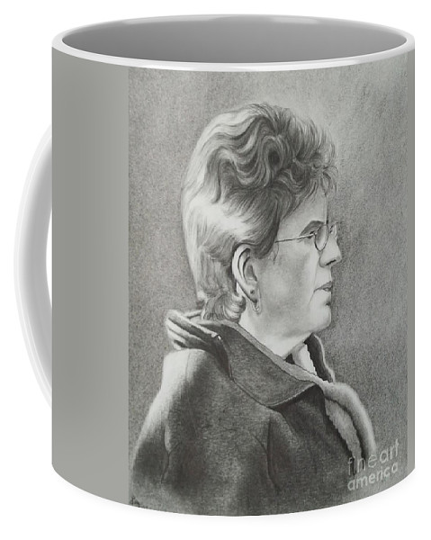 Profile Coffee Mug featuring the drawing Louise by Lise PICHE