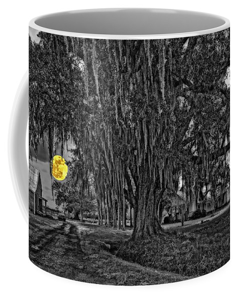 New Orleans Coffee Mug featuring the photograph Louisiana Moon Rising Monochrome 2 by Steve Harrington