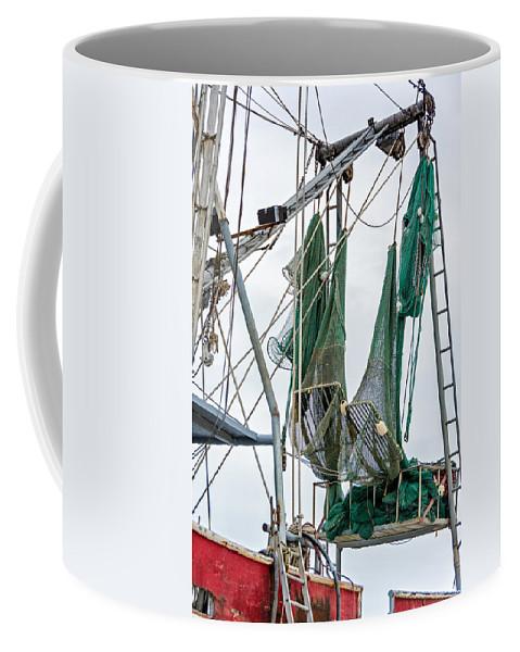 Steve Harrington Coffee Mug featuring the photograph Louisiana Shrimp Boat Nets by Steve Harrington