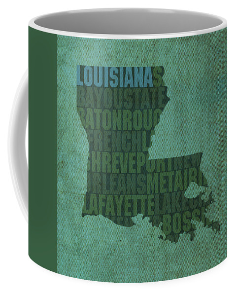 Louisiana Word Art State Map On Canvas Coffee Mug For Sale By Design Turnpike