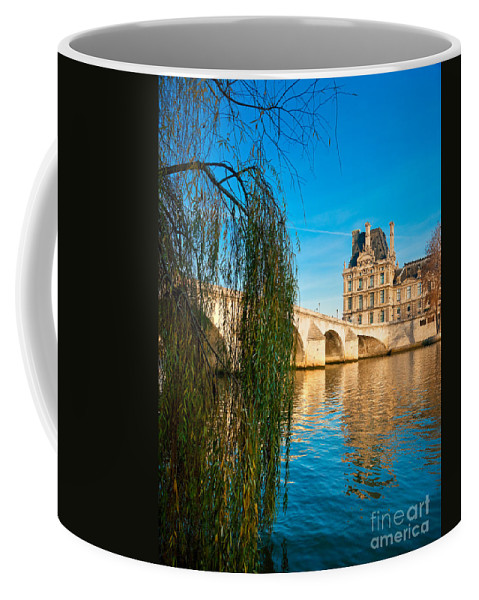 Anniversary Coffee Mug featuring the photograph Louvre Museum And Pont Royal - Paris - France by Luciano Mortula