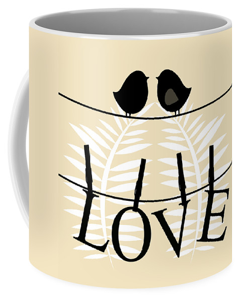 Funny Coffee Mug featuring the digital art Love Birds by Mark Ashkenazi
