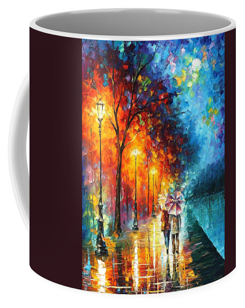 Oil Paintings Coffee Mug featuring the painting Love By The Lake - Palette Knife Oil Painting On Canvas By Leonid Afremov by Leonid Afremov