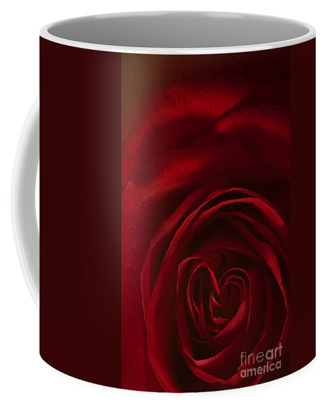 Rose; Red; Heart; Love; Petals; Close Up; Macro; Vibrant; Emotions; Flower; Perennial; Color; Beauty; Beautiful; Nature; Still Life; Romance; Romantic; Conceptual; Shape Coffee Mug featuring the photograph Love In The Rarest Form by Margie Hurwich