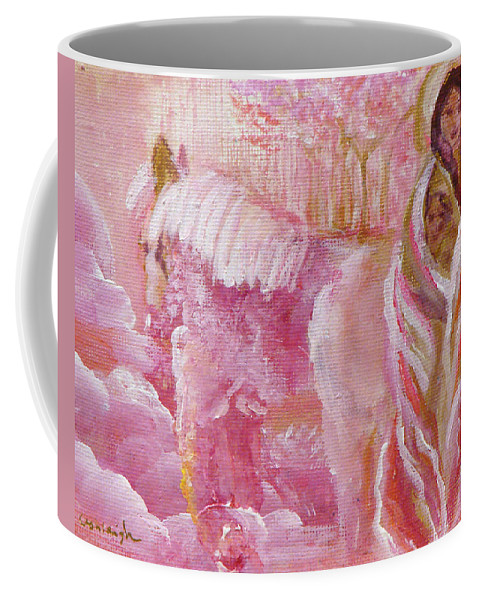 Pink Coffee Mug featuring the painting Love Is Crowned by Ashleigh Dyan Bayer