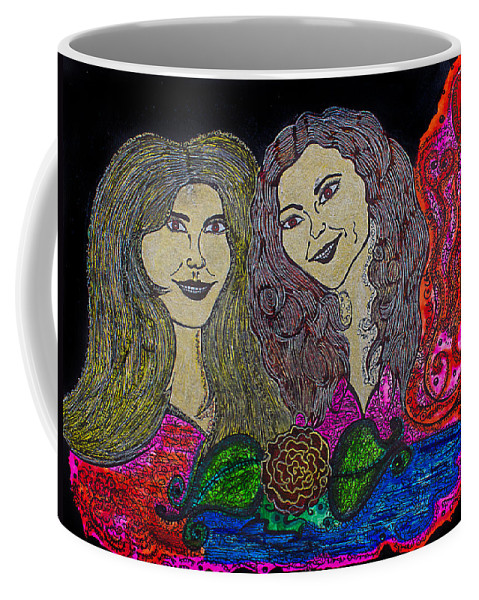 Women Coffee Mug featuring the painting Love Ladies by Alex Art and Photo