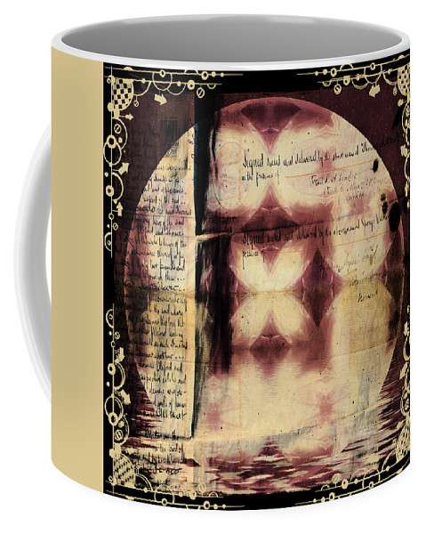 Black Coffee Mug featuring the digital art Love Letter Mandala - Contemporary by Georgiana Romanovna
