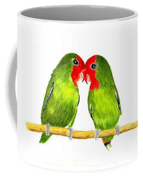 Birds Coffee Mug featuring the painting Lovebirds by Michael Vigliotti